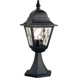 NORFOLK traditional black pedestal gate post light