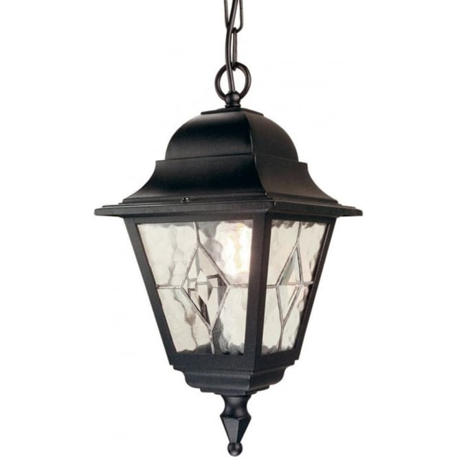 Chester Collection NORFOLK traditional black porch lantern hanging on chain