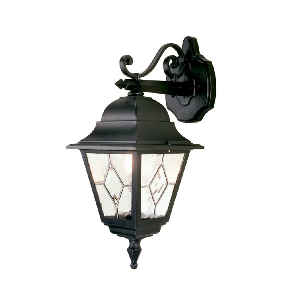 Traditional Garden Wall Lights : Traditional Black Garden Wall Light, Leaded Glass, Will Fit Onto Corner