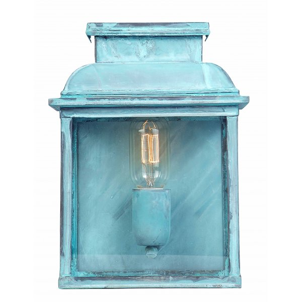 traditional outdoor wall lantern in tarnished verdigris finish