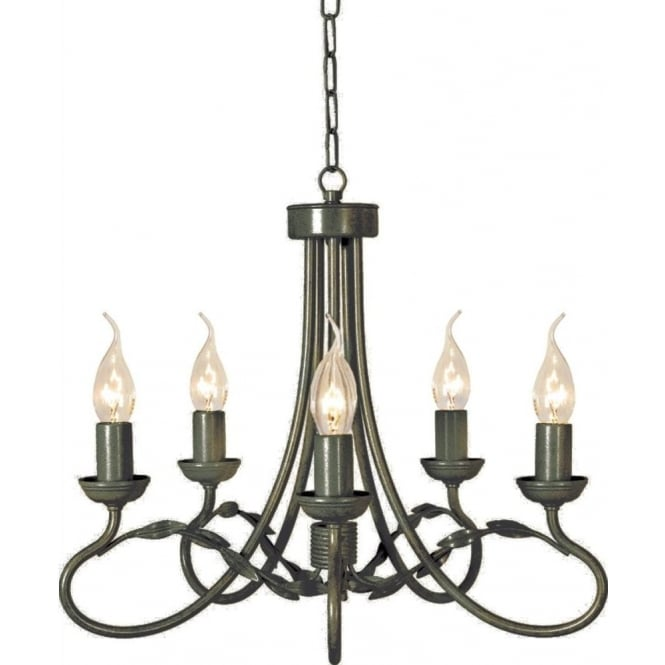 Chester Collection OLIVIA black gold traditional chandelier with 5 lights