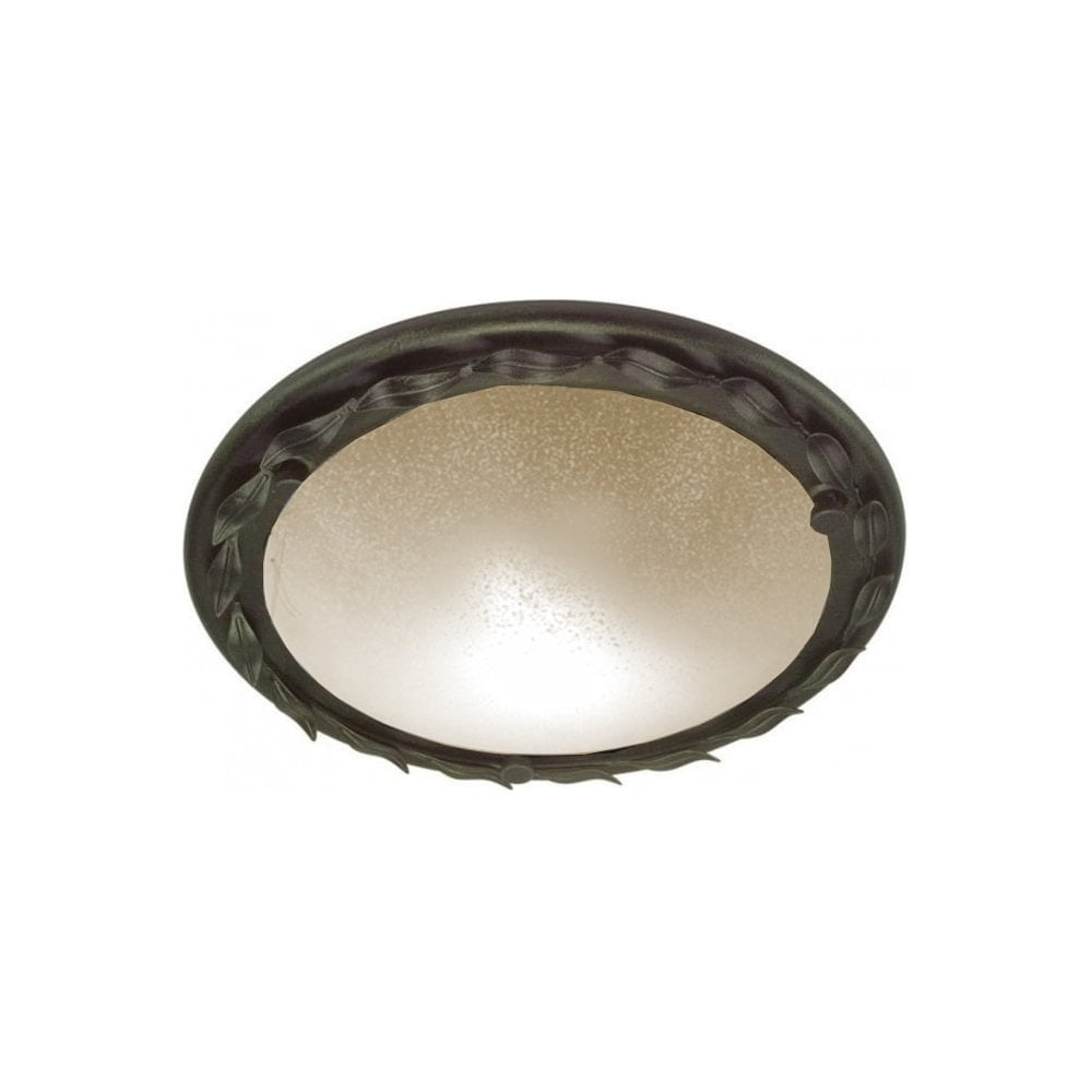 Olivia circular flush glass ceiling light with black gold surround