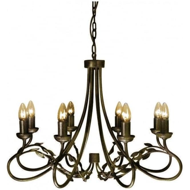 Large black gold chandelier with 8 candle light edwardian leaf detail olivia large 8 light traditional chandelier in black gold finish aloadofball Image collections