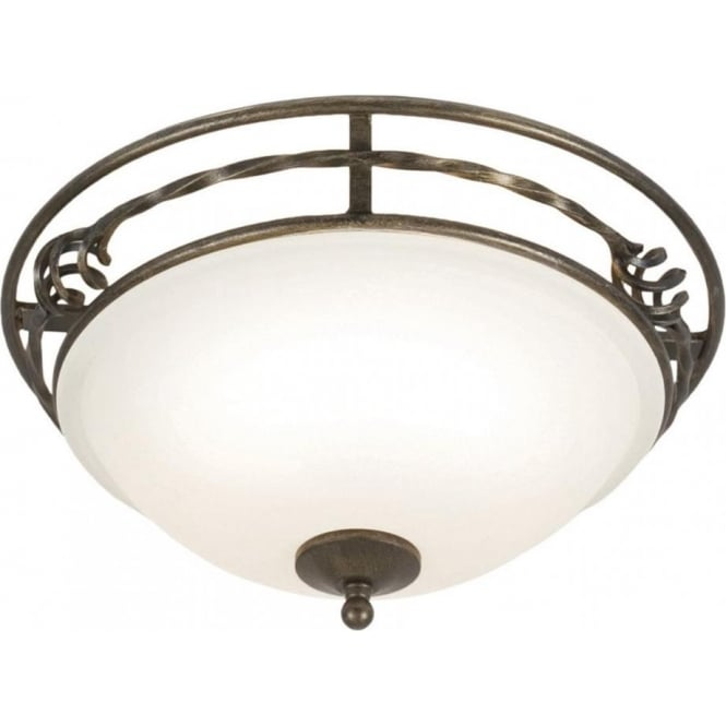 Chester Collection PEMBROKE glass low ceiling light, decorative forged iron surround