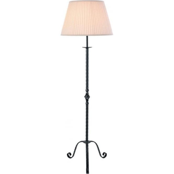 Black wrought iron standard floor lamp hand crafted quality uk pembroke traditional black wrought iron floor lamp mozeypictures Gallery