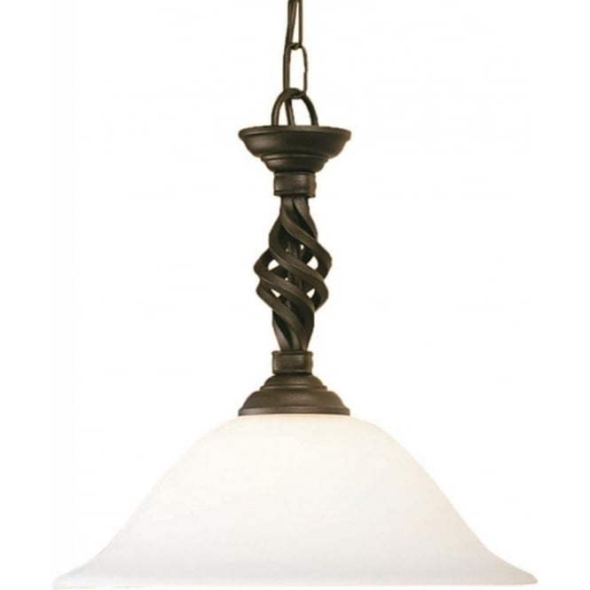 Chester Collection PEMBROKE traditional hand forged ceiling pendant light in black gold finish