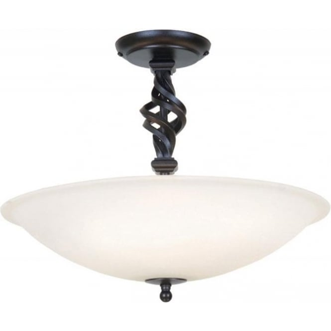 detailed look fd37a b57a5 PEMBROKE wrought iron uplighter ceiling light with white glass shade
