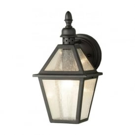 POLRUAN traditional garden wall lantern in black wrought iron