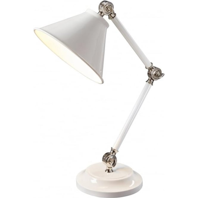 Chester Collection PROVENCE ELEMENT small adjustable white retro desk light with nickel detailing