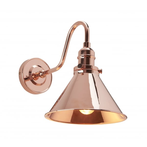Bistro Style Copper Wall Light with Swan Neck Arm and Adjustable Shade