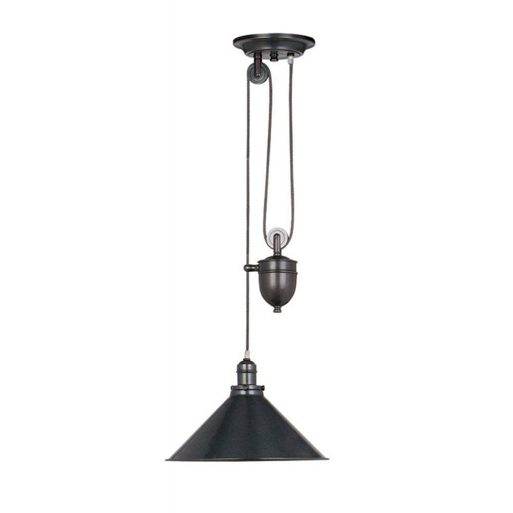 Metal Rise And Fall Ceiling Pendant Light In Old Bronze Finish