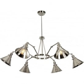 PROVENCE modern retro style chandelier with adjustable arms and shades - nickel
