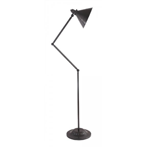 Angled floor standing lamp in dark bronze finish fully for Retro angled floor lamp