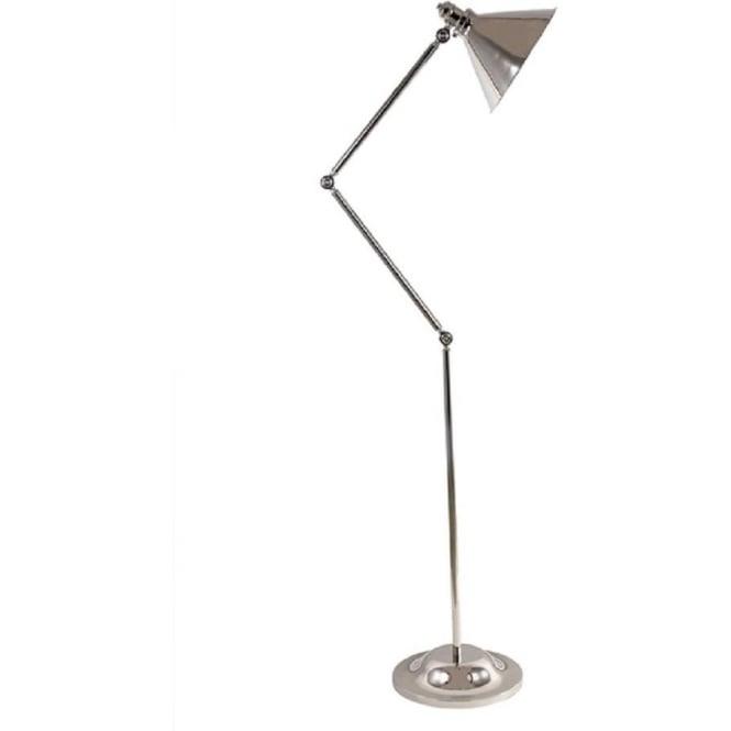 Polished nickel free standing adjustable floor lamp for Retro angled floor lamp