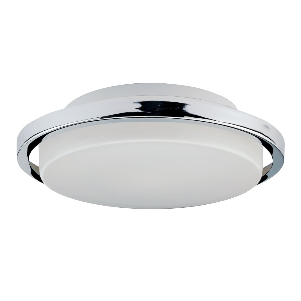 Led bathroom ceiling light circular fitting with opal glass and chrome for Ceiling mounted bathroom lights