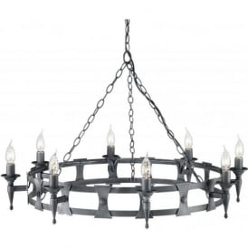 SAXON large Medieval wrought iron hooped chandelier