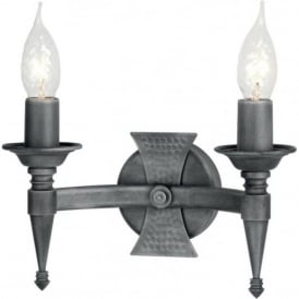 SAXON Medieval forged wrought iron double wall light