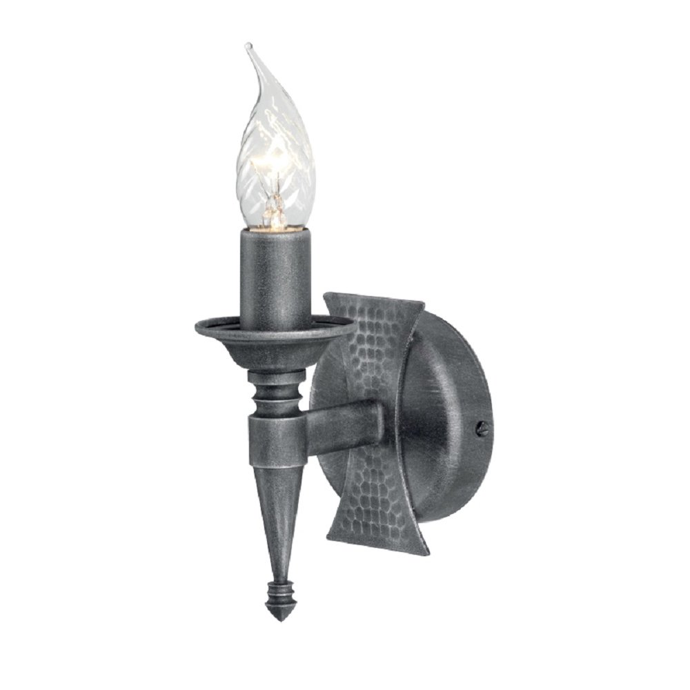 Wrought Iron Medieval Wall Light Candle Style in Black Silver Finish