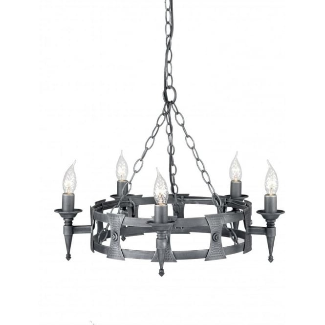 Circular Medieval Hoop Chandelier In Forged Black Silver