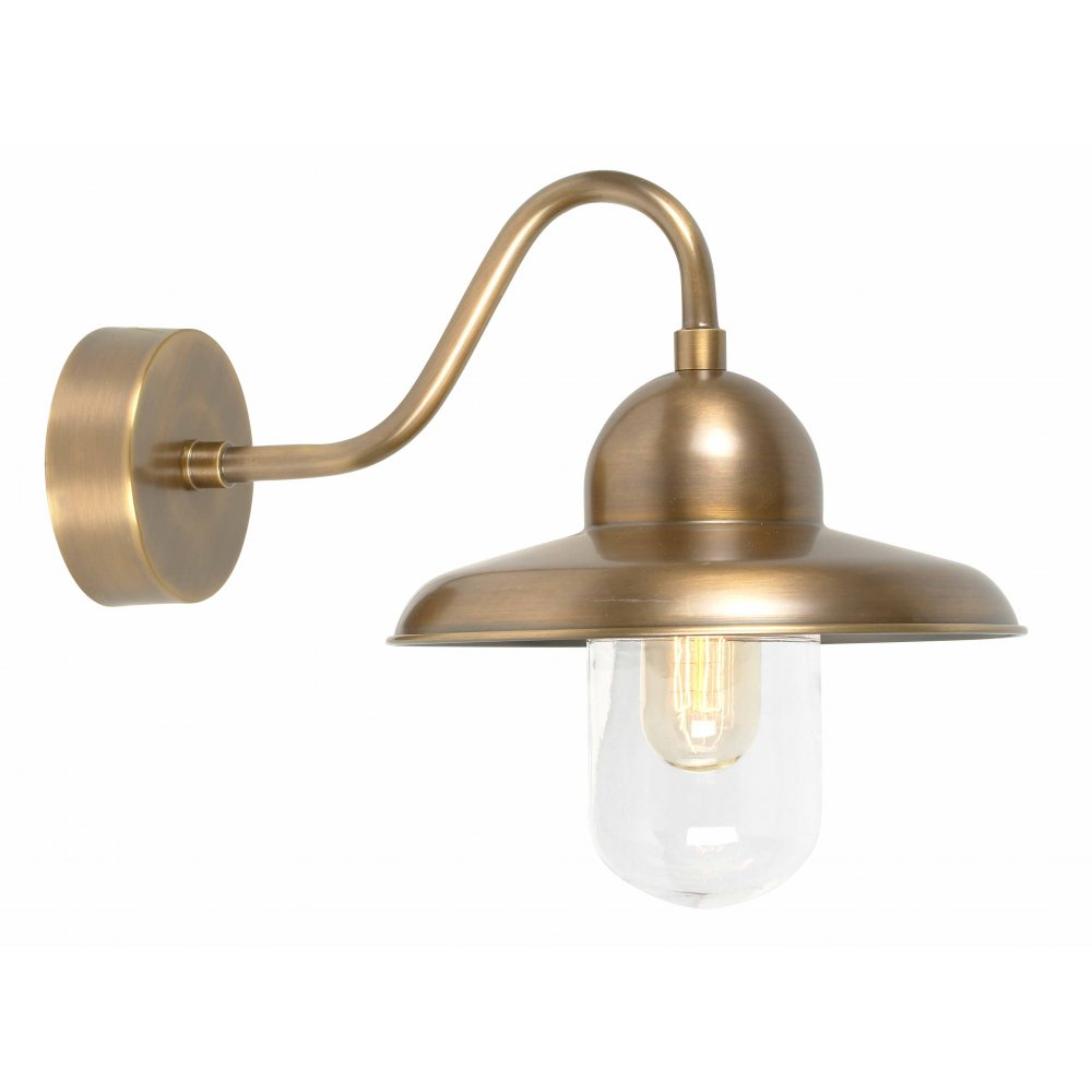 Wall Lamps Brass : Solid Brass Outdoor Wall Lamp, Swan Neck with Domed Glass Shade