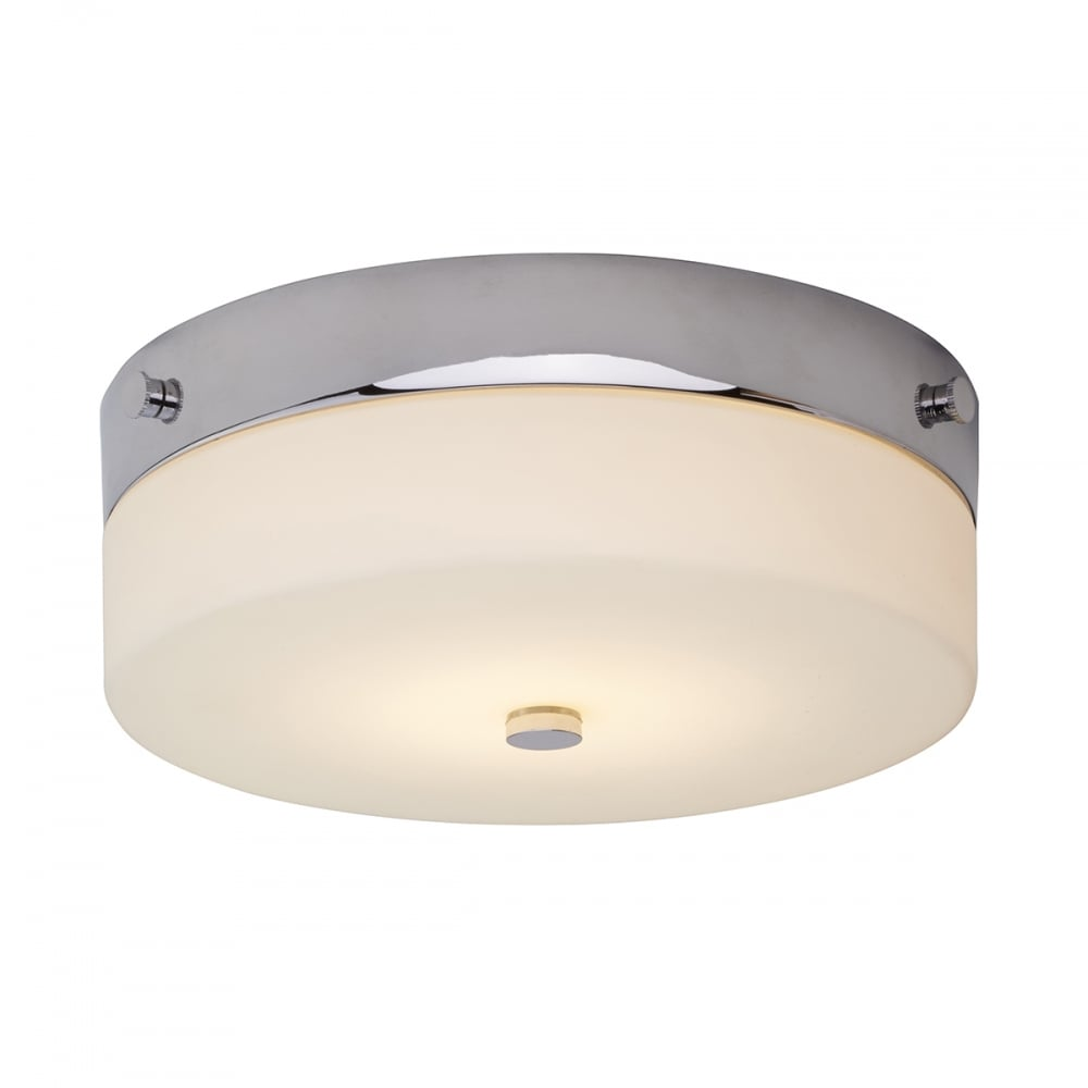 Circular bathroom ceiling light fitting in opal glass with chrome rim tamar ip44 flush fitting circular low ceiling light medium aloadofball Gallery