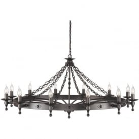 WARWICK large wrought iron Medieval chandelier