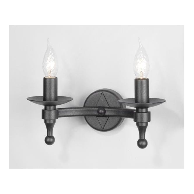Black Wrought Wall Lights : Wrought Iron Black Medieval Rustic Double Wall Light 2 Candle Bulbs