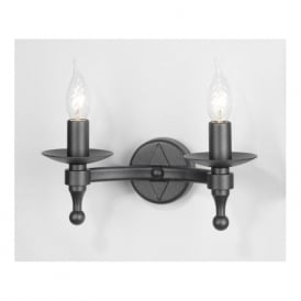 WARWICK Medieval black wrought iron wall light