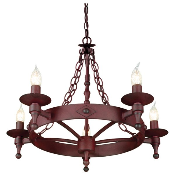 Rusty Iron Medieval Cartwheel Chandelier On Chains 5