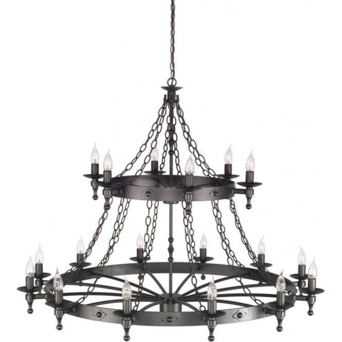 Very Large 2 Tiered Medieval Cartwheel Pendant Light On Chains