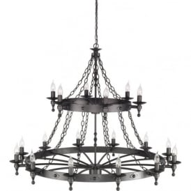 WARWICK very large Medieval wrought iron cartwheel ceiling light