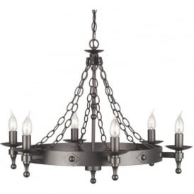 WARWICK wrought iron Medieval cartwheel chandelier