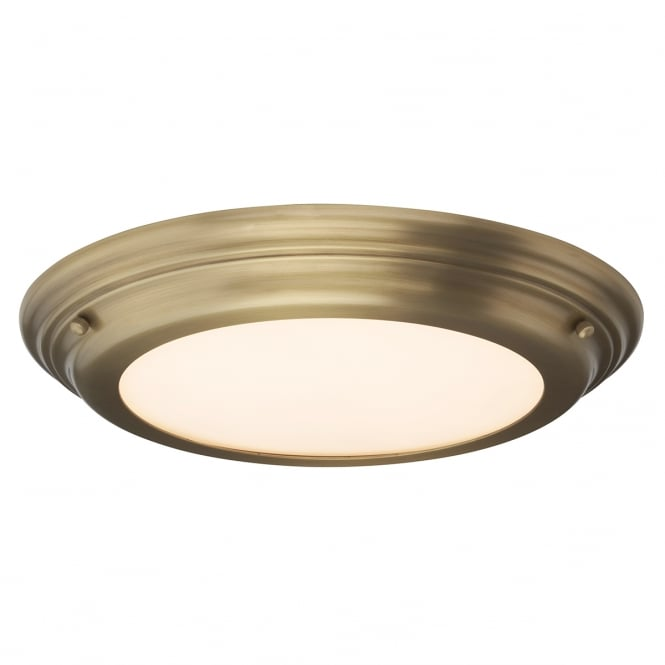 Chester Collection WELLAND IP44 flush fitting LED low ceiling light - aged brass
