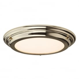 WELLAND IP44 flush fitting LED low ceiling light - gold polished brass