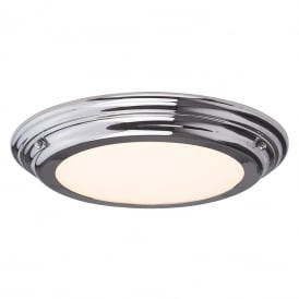 WELLAND IP44 flush fitting LED low ceiling light - polished chrome