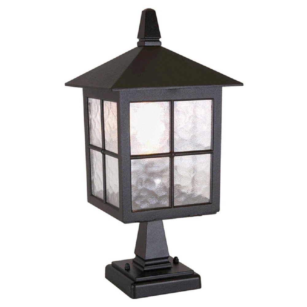 Exterior Gate Post Lantern In Traditional Black Cast