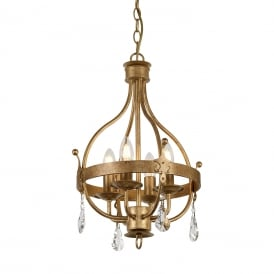 WINDSOR 4 light Medieval orb chandelier in rich gold patina