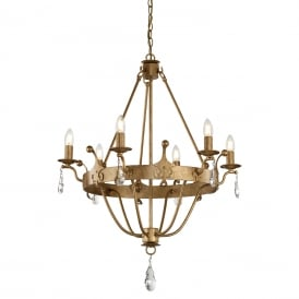 WINDSOR 6 light Medieval style chandelier in rich gold patina
