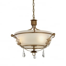 WINDSOR dual mount ceiling pendant or semi-flush light in rich gold patina