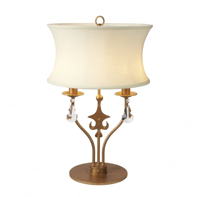 Chester Collection WINDSOR traditional candelabra style table lamp in rich gold patina complete with shade