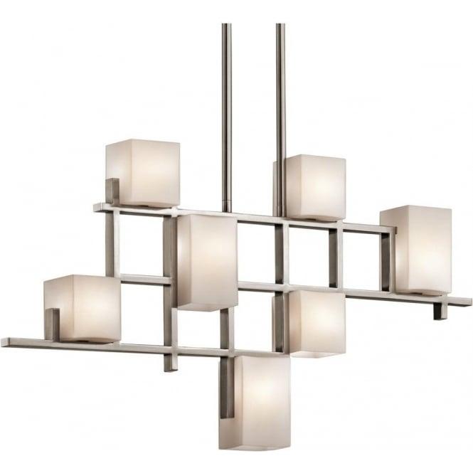 Modern Art Deco Linear Ceiling Light Pewter Grid Opal Glass Shades