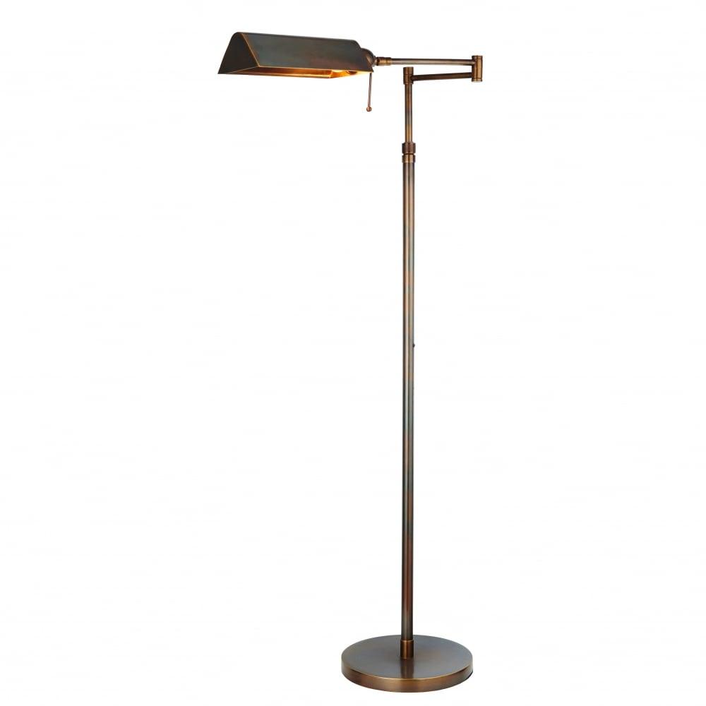 Clarendon Traditional Solid Brass Swing Arm Floor Lamp In Dark Antique Finish