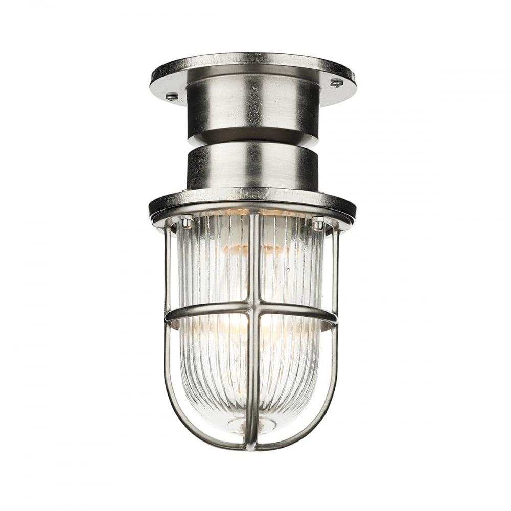 Nautical Design Flush Ceiling Light Or Wall Light In Nickel Finish