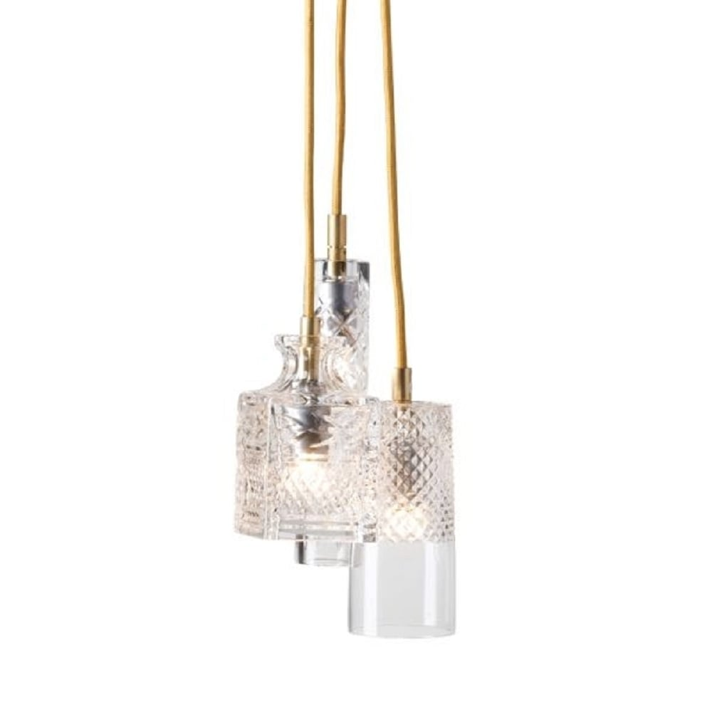 Cluster Of Crystal Ceiling Pendant Lights On Long Drop