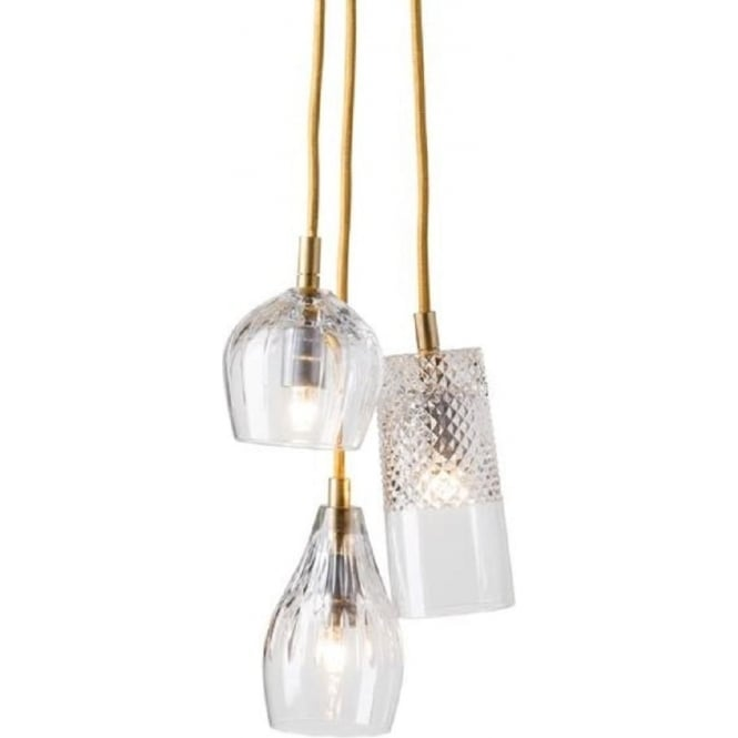 Crystal 3 light ceiling pendant cluster hanging on long gold cables crystal cascade cluster of 3 ceiling pendant lights on gold suspension aloadofball Images