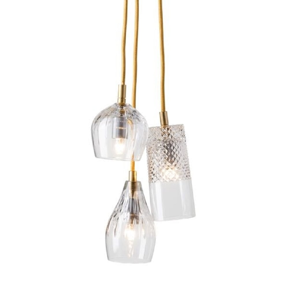 Crystal 3 Light Ceiling Pendant Cluster Hanging On Long
