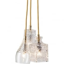 CRYSTAL CASCADE cluster of 3 ceiling pendant lights on gold suspension