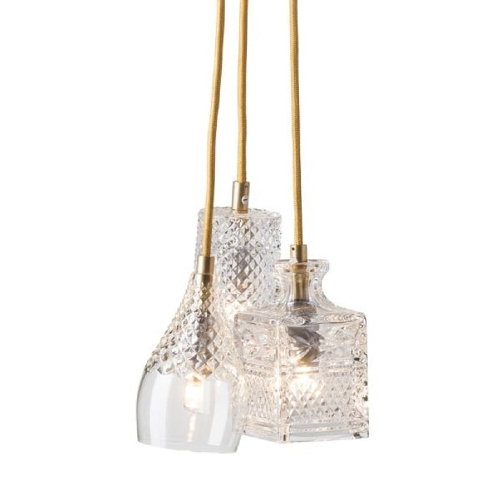 cluster of assorted ceiling pendant lights in lead crystal