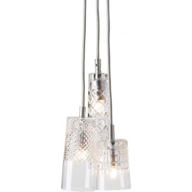 Copenhagen Glass Collection CRYSTAL CASCADE cluster of 3 ceiling pendant lights on silver suspension