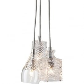 CRYSTAL CASCADE cluster of 3 ceiling pendant lights on silver suspension